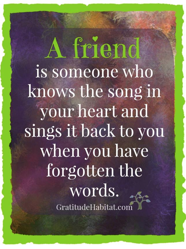 Quotes On Friends Value : A friend knows the song in your heart gift gratitude at